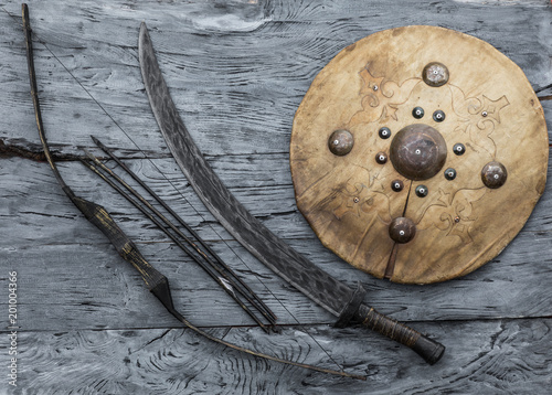 shield and sword of the ancient Mongols