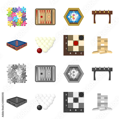 Gra planszowa kreskówka, monochromatyczne ikony w ustalonej kolekci dla projekta. Gra i rozrywka wektorowa symbolu zapasu sieci ilustracja.