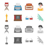Award Oscar, movie screen, 3D glasses. Films and film set collection icons in cartoon,monochrome style vector symbol stock illustration web. - 201005951