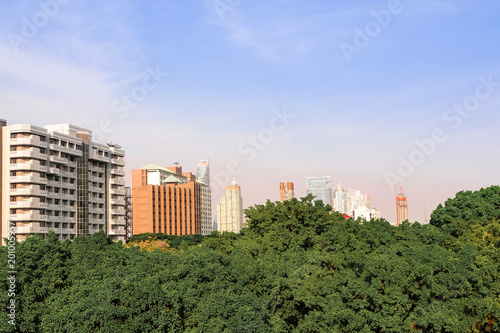 Fotobehang Bangkok Cityscape and natural view of bangkok, Thailand, from high position in sunshine day