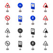 Different types of road signs cartoon,monochrome icons in set collection for design. Warning and prohibition signs vector symbol stock web illustration.