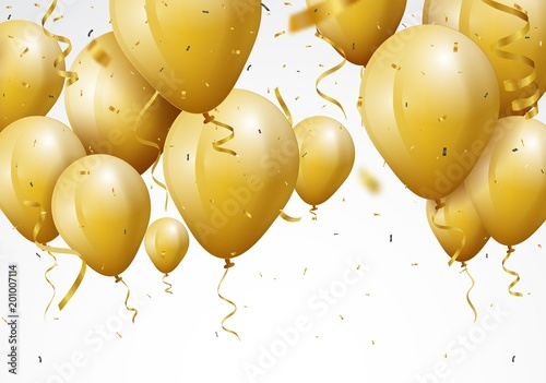 Tło uroczystość z złotym konfetti i balony