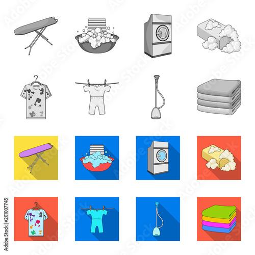 Odkurzacz, stos ubrań, brudne i czyste rzeczy. Suchego cleaning ustalone inkasowe ikony w monochromu, mieszkanie stylowa wektorowa symbolu zapasu ilustraci sieć.