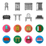 Sofa, armchair, table, mirror .Furniture and home interiorset collection icons in monochrome,flat style vector symbol stock illustration web. - 201007917