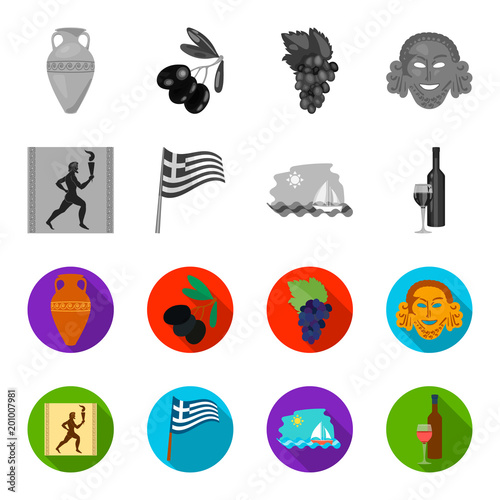 Greece, running, wine, flag .Greece set collection icons in monochrome,flat style vector symbol stock illustration web.