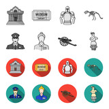 Guard, guide, statue, gun. Museum set collection icons in monochrome,flat style vector symbol stock illustration web. - 201008335