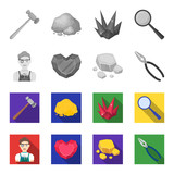 Jeweler, pliers, gold ore, garnet in the form of heart. Precious minerals and jeweler set collection icons in monochrome,flat style vector symbol stock illustration web. - 201008532