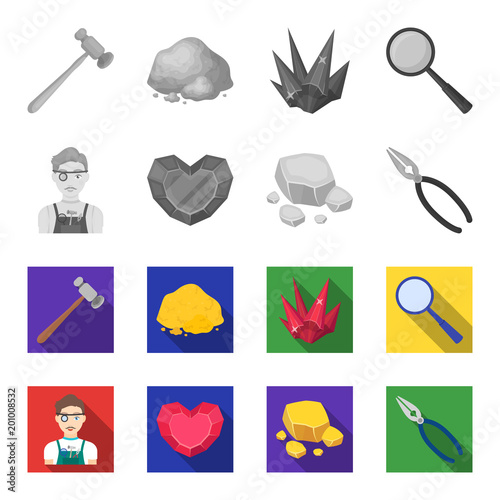 Jeweler, pliers, gold ore, garnet in the form of heart. Precious minerals and jeweler set collection icons in monochrome,flat style vector symbol stock illustration web.
