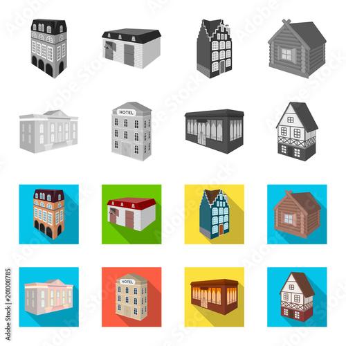 Budynek muzeum, trzypiętrowy hotel, stajnia na torze wyścigowym, dom mieszkalny. Architektoniczne i budynek ustalone inkasowe ikony w monochromu, mieszkanie stylowa wektorowa symbolu zapasu ilustracja