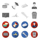 Broken TV monitor, banana peel, fish skeleton, garbage bin. Garbage and trash set collection icons in monochrome,flat style vector symbol stock illustration web. - 201009351