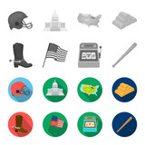 Cowboy boots, national flag, slot machine, baseball bat. USA country set collection icons in monochrome,flat style vector symbol stock illustration web. - 201009387