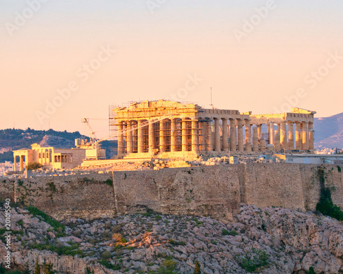 Keuken foto achterwand Athene Athens Greece, Parthenon ancient temple on Acropolis hill during the golden hour