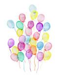 Watercolor varicolored air balloons