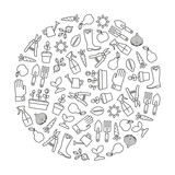 round design element with gardening icons