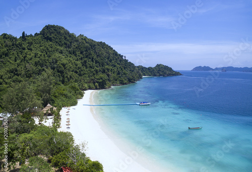 beautiful white sand beach of nyang oo phee island most popular traveling destination in myanmar