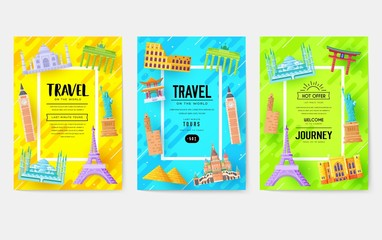 Travel information cards. Landscape template of flyer, magazines, posters, book cover, banners. Vector country coloful elements set