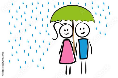Mann und Frau unter dem Regenschirm
