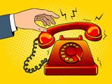 Red hot old phone pop art vector illustration - 201038162