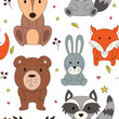 Forest seamless pattering in cartoon style. Woodland animals. Vector illustration - 201039520