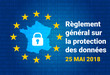 RGPD - French: Reglement general sur la protection des donnees means: GDPR - General Data Protection Regulation. France map. Vector