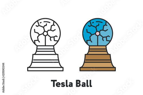 Tesla Ball Electric Lightning Minimal Color Flat Line Outline Stroke Icon