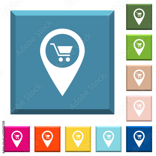 Department store GPS map location white icons on edged square buttons