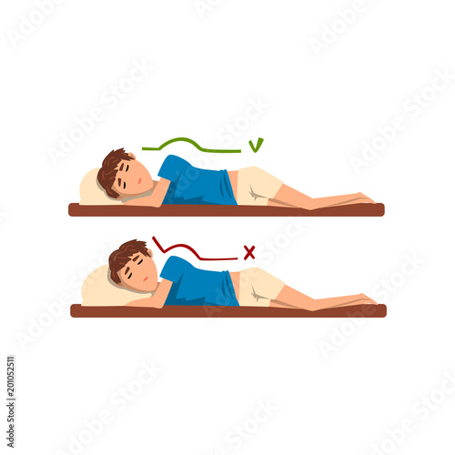 Correct And Worst Positions For Sleeping Boy Sleeping On The Bed