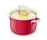 Red saucepan with lid. Kitchen tableware. Prepare food. Cooking - 201057328