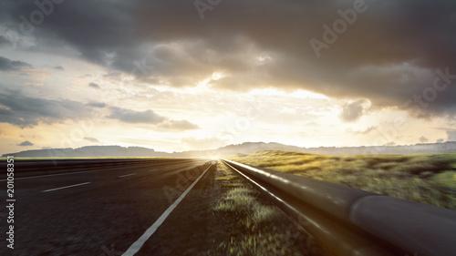 Sticker Autobahn im Sonnenuntergang