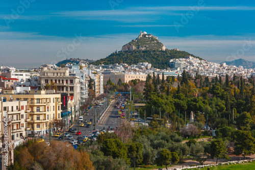 Keuken foto achterwand Athene Aerial city view with Mount Lycabettus in Athens, Greece