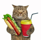 The cat holds a red cup of coffee and a hot dog. White background. - 201069960