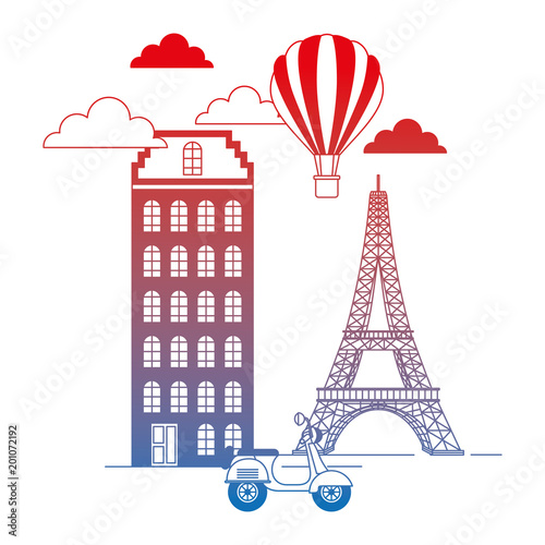paris city with eiffel tower and scooter scene vector illustration design © Gstudio Group