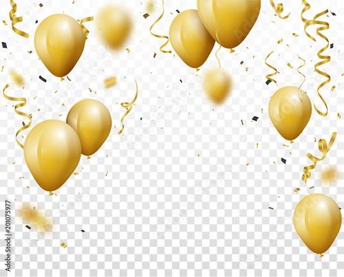 Tło uroczystość z złotym konfetti i balony, na przezroczystym tle