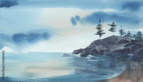 watercolore-landscape-of-the-sea-rocks-pine-trees-against-stomy-sky-hand-drawn-illustration