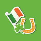 saint patricks day design with ireland flag and horseshoe over green background, colorful design. vector illustration