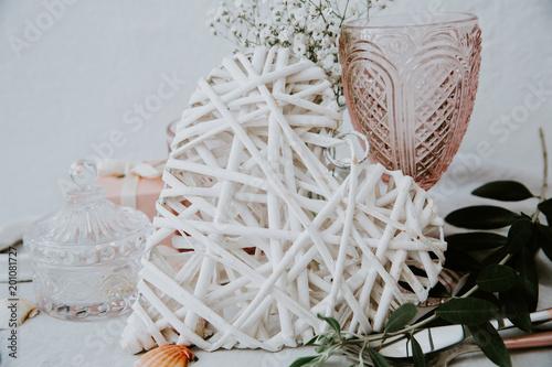 Foto Murales Wedding decorative white heart
