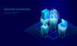 Isometric internet cryptocurrency coin business concept. Blue glowing isometric Bitcoin Ethereum Ripple GCC coin finance mining pc smartphone future technology. 3D infographic vector illustration
