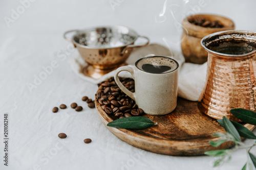 Fresh made Turkish coffee in pot