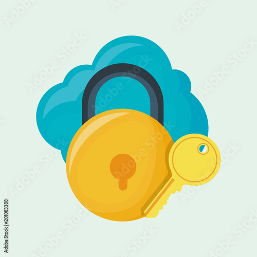 cloud with padlock and key over white background, colorful design. vector illustration
