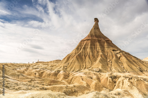landscape of bardenas reales in Navarra (Spain) with a cloudy sky
