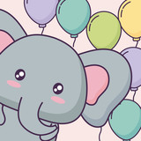 cute animal with colorful balloons over background, vector illustration