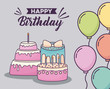 Happy birthday design with birthday cakes and decorative colorful balloons over gray background, vector illustration