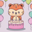 cute tiger with birthday cake and decorative balloons over pink background, colorful design. vector illustration