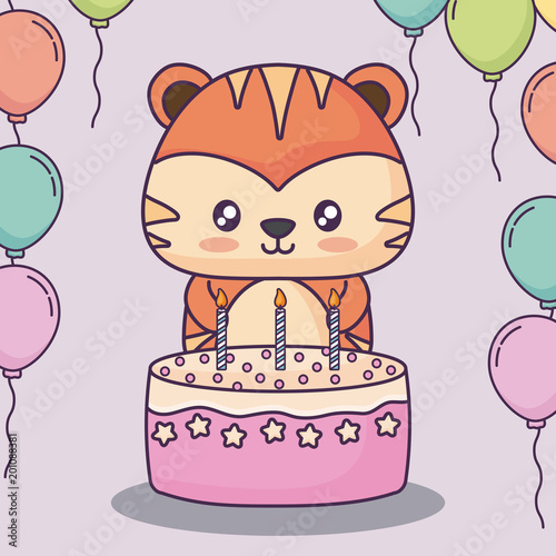uroczy tygrys z tort urodzinowy i ozdobne balony na różowym tle, kolorowy design. ilustracji wektorowych