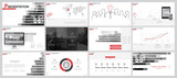 Black and white, red, elements of presentation templates, white background.Slide set.2018. flyer,infographic. Business presentations, corporate reports,marketing,advertising,annual report,font banners