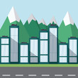 Landscape with row of city buildings and mountains, colorful design. vector illustration - 201091195