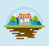 Landscape with store and trees over blue background, colorful design. vector illustration - 201091138