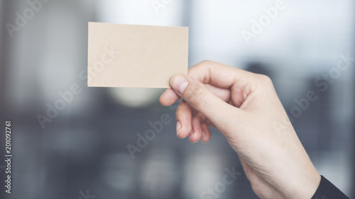 Fridge magnet Woman holding the business card
