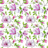 Seamless pattern, blooming magnolia and weave branches with green foliage. Illustration by markers, beautiful floral composition on a white background. - 201093917