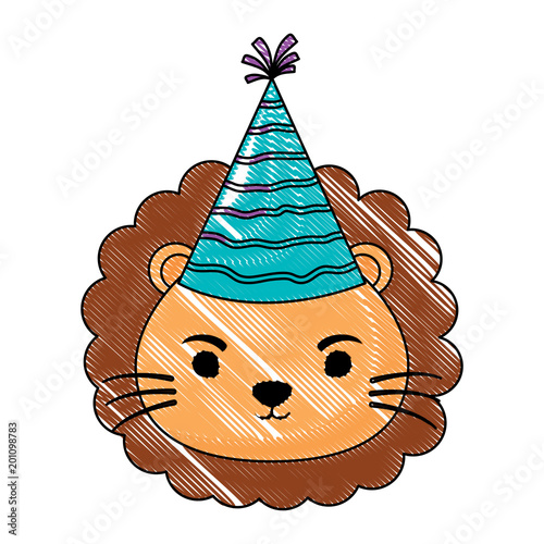 cute lion with party hat over white background, colorful design. vector illustration